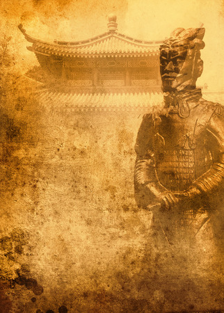 distinctions: Terracotta army on grunge background