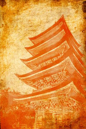 indelible: Pagoda on grunge background