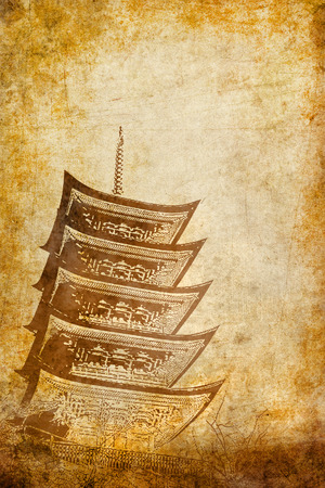 distinctions: Pagoda on grunge background