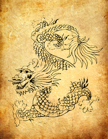 Ancient Chinese Dragon on grunge background  photo