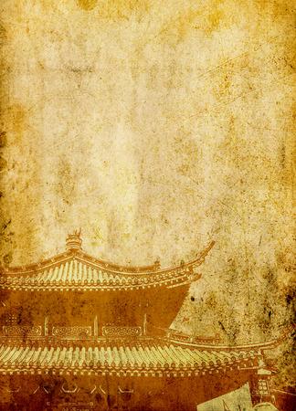 ideogram: Oriental construction on grunge background