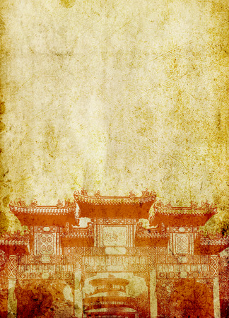 distinctions: Oriental construction on grunge background
