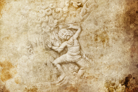 Grunge background and bas-relief with men dancing photo