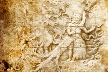 Grunge background and bas-relief with jungle photo