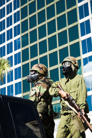 veteran's day: ORLANDO  FL  - November 9, 2013 - Soldiers with the gas mask band during the Veteran s Day Parade, Orlando Florida