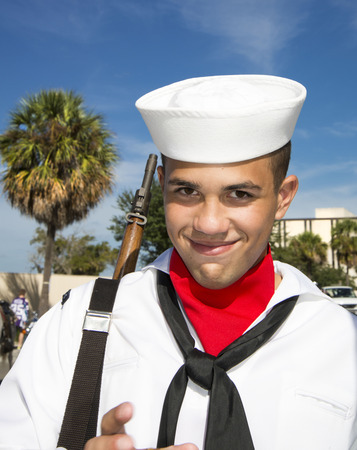 veteran's day: ORLANDO  FL  - November 9, 2013 - Young soldier during the Veteran s Day Parade, Orlando Florida