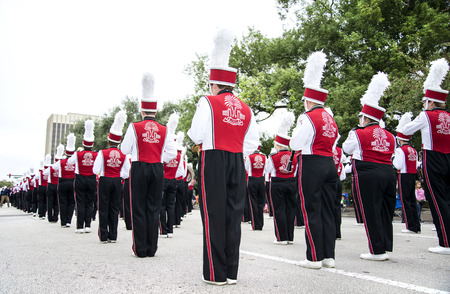 florida citrus: ORLANDO FL - December 30, 2013 -  High School Marching Band at Florida Citrus Parade in Orlando Florida Editorial