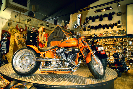 Harley Davidson motorcycle in the store at Frankfurt, Germany