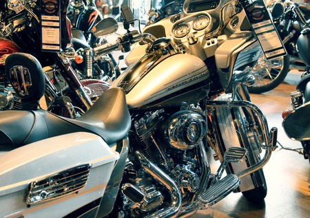harley davidson motorcycle: Harley Davidson motorcycle in the store at Frankfurt, Germany