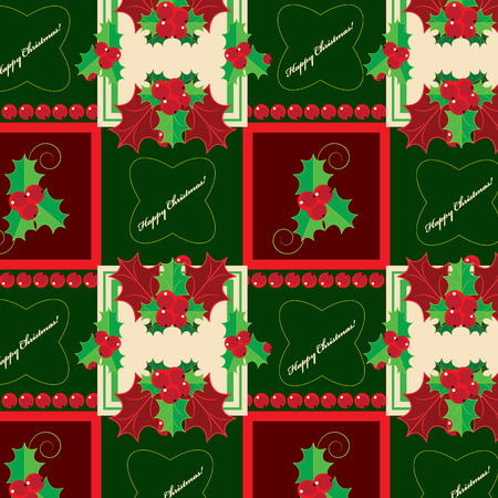 evergreen: Christmas pattern with holly evergreen, vector illustration