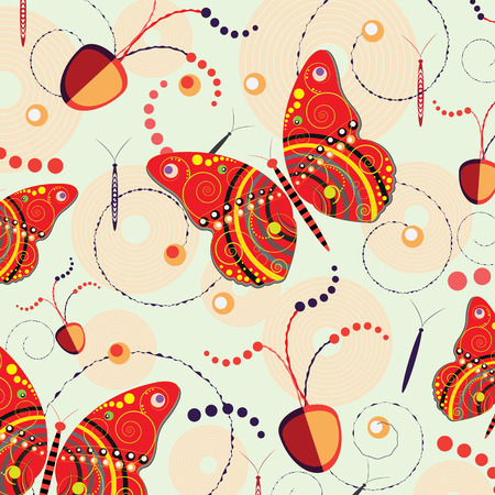 abstract fruit: Butterfly and abstract fruit on vector background