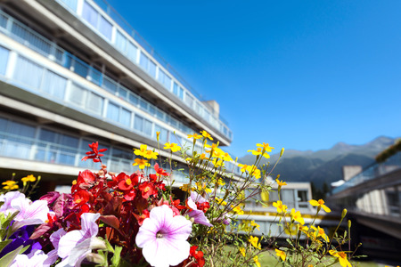 Flowers in front of a residencial building in South Tyrol, Italy