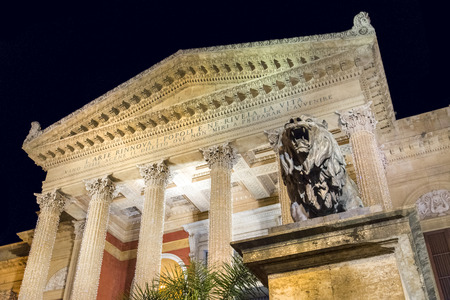 massimo: Palermo Italy - December 23, 2014 - View of Teatro Massimo by night in Palermo, Sicily Italy