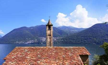como: Lake Como, St. Martins Church in Griante on Lake Como, Lombardy Italy.