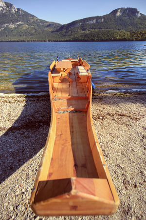 touristic: Typical touristic boat on lake Altaussee in Austria.