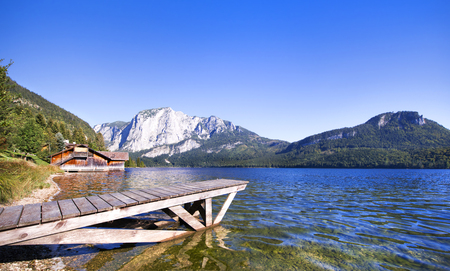 boat house: Pier and boat house on lake Altaussee, Salzkammergut, Austria. Stock Photo