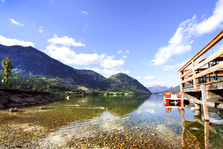 amenities: The shore with amenities of the Lake Grundlsee, Austria.