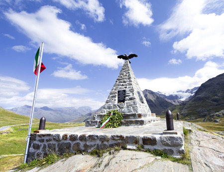 gavia: STEP GAVIA, ITALY - September 1, 2015 - Monument to the fallen in World War II, in Passo Gavia, Italy. Editorial