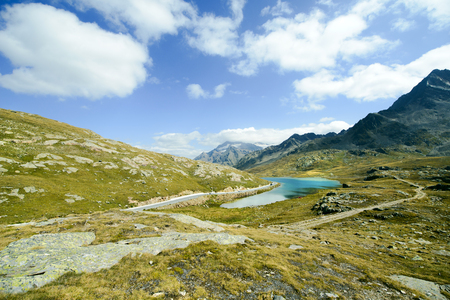 vacancies: Gavia Pass, view of White Lake on the top of the mountain, Italy Stock Photo