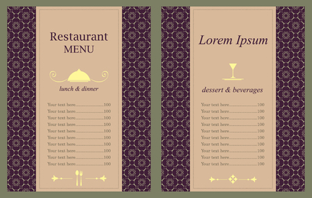 sides: Restaurant menu design (two sides), vector illustration.