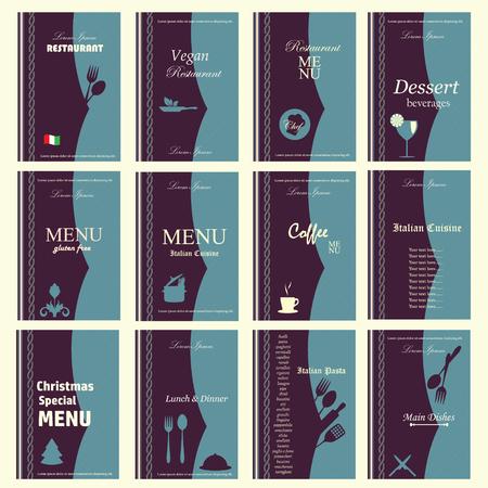 a 12: Set of 12 sides of Menu design, vector illustration. Illustration