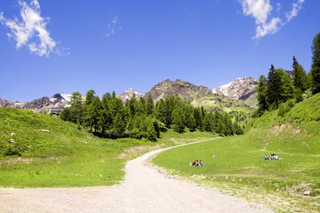 alto adige: Tourists at Tarlenta - Pejo 3000 and Panorama in Trentino Alto Adige, Italy.