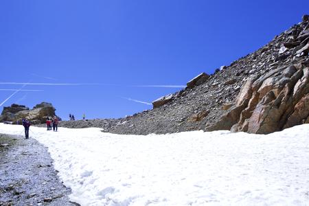alto adige: View of a tourists Pejo at 3000m, in the Dolomites mountains, Trentino Alto Adige, Italy.