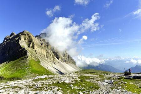 mountain pass: View of the mountain called Great Stone at the mountain pass over Groste Madonna di Campiglio, Trentino Alto Adige, Italy.