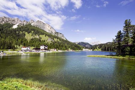 lake misurina: View of Lake Misurina in Veneto, Italy. Stock Photo