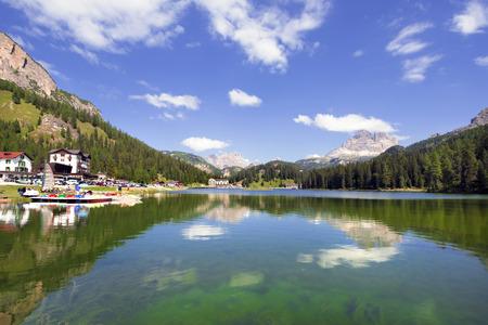 lake misurina: Lake Misurina near Cortina dAmpezzo, Italy. Stock Photo