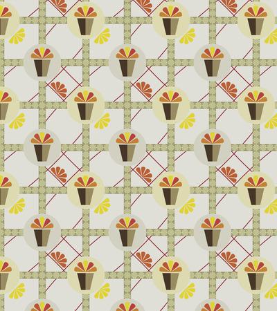 flower pots: Abstract flower pots decoration on seamless pattern, vector illustration. Illustration