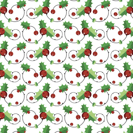 hollies: Evergreen hollies and branch on seamless pattern.