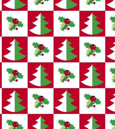 hollies: Christmas trees and evergreen hollies on seamless pattern. Illustration