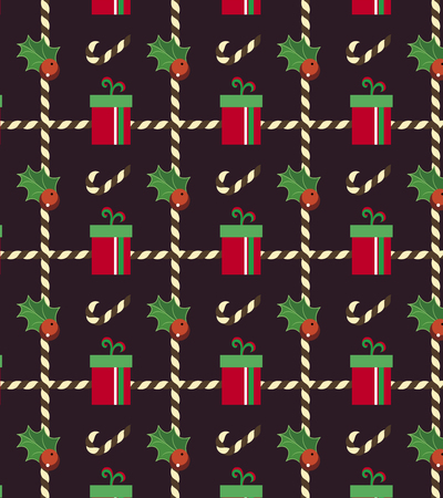 evergreen: Christmas pattern, evergreen and presents on semless pattern.