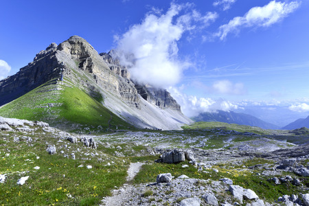 Madonna di Campiglio, view at the Groste mountain pass, Italy.