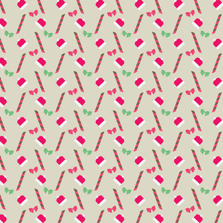 articles: Holly ever green, Santa Claus hat and christmas sugar stick on a seamless pattern, vector illustration.