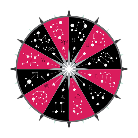 Horoscope signs and constellation on red and black mandala, vector illustration.