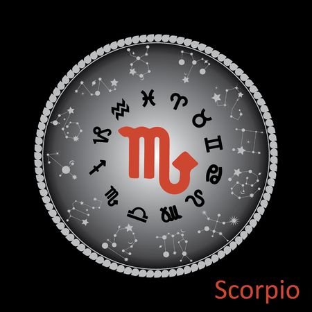Virgo horoscope symbol on round background.