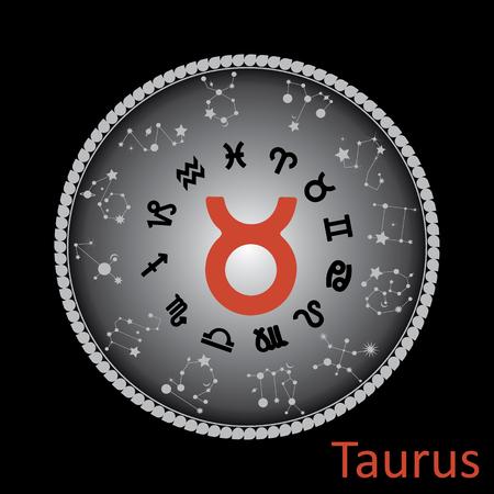 Taurus horoscope symbol on round background.