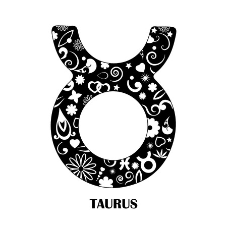 Taurus horoscope decorated icon on black and white, vector illustration. Illustration