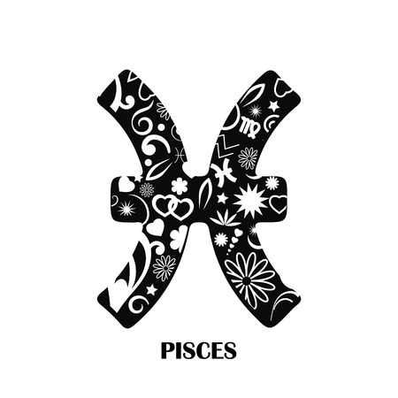 Pisces horoscope decorated icon on black and white, vector illustration.