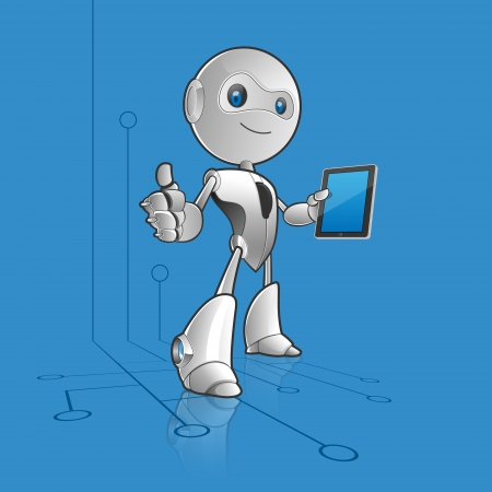 Robot with tablet 일러스트