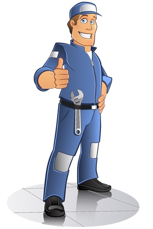 mechanic cartoon: mechanical man with blue work clothes and cap, vector