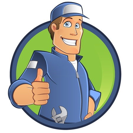 tradesman: mechanical man with blue work clothes and cap, vector