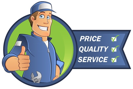 plumbers: mechanical man with blue work clothes and cap, vector