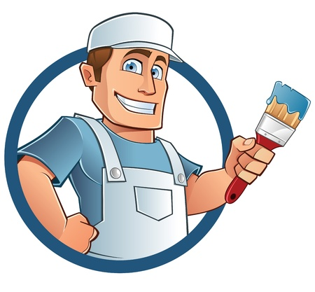 painter with brush in hand Vector