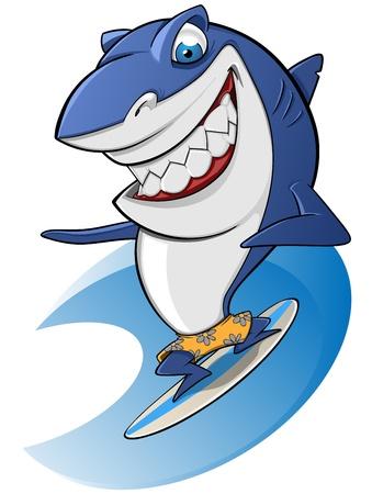Shark surfing sympathetic 일러스트