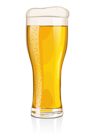 isolated  on white: A pint or glass of lager With refreshing look