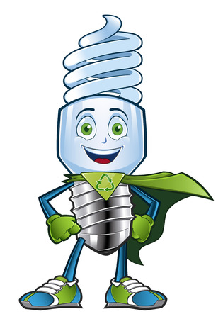 clean energy: Sympathetic character WHO dealer to an energy saving light bulb
