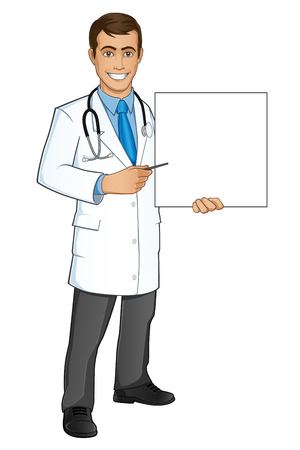 sympathetic: Sympathetic doctor with work clothes, the Doctor is pointing to a poster